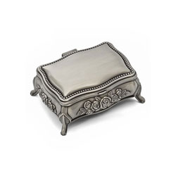 Ava Rose - Small Engravable Pewter-Tone Finish Rose Jewelry Box - BEST SELLER/