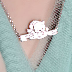 Disney Winnie the Pooh Sterling Silver Rhodium Name Necklace - Double Gauge Nameplate and 1.50mm 14