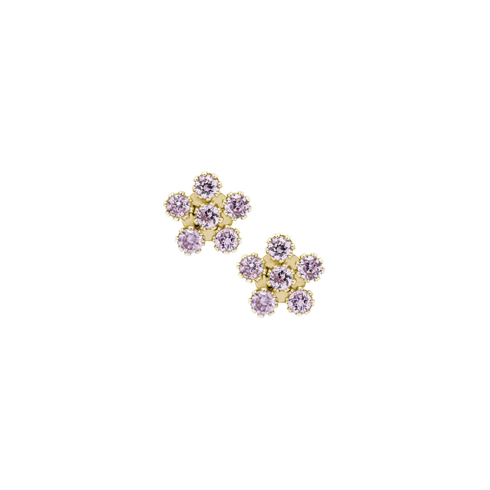 S Elegant Flower Keepsakes Purple Cubic Zirconia Cz 14k Yellow Gold Back Earrings For Baby Toddler And Child Safety Threaded