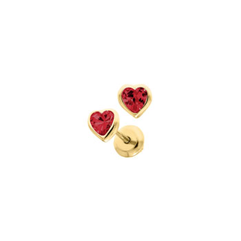 Heart July Birthstone 14K Yellow Gold CZ Screw Back Earrings for Babies & Toddlers - Heart CZ Ruby Birthstone - Safety threaded screw back post - BEST SELLER