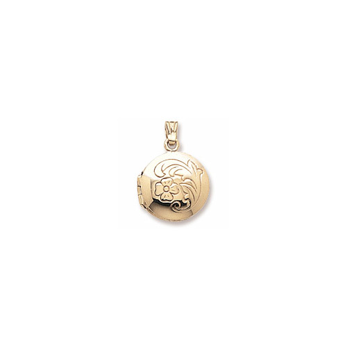 Heirloom Fancy Round Small Locket by My First Locket™ - 10K Yellow Gold - Add to a bracelet or necklace