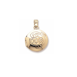 Heirloom Fancy Round Small Locket by My First Locket™ - 10K Yellow Gold - Add to a bracelet or necklace/