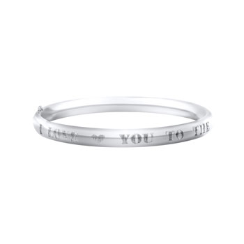"I Love You To The Moon and Back - High Polished Sterling Silver Rhodium Baby, Toddler Keepsake Bangle Bracelet - Size 5.25"" - BEST NEW BABY GIFT"