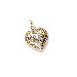 Rembrandt 14K Yellow Gold Filigree Heart (3-Dimensional) Charm – Add to a bracelet or necklace/