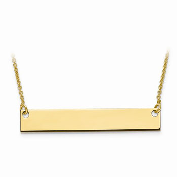 Medium Engravable Bar Necklace for Girls - 14K Yellow Gold - 1.0mm chain included - BEST SELLER
