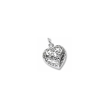Rembrandt Sterling Silver Filigree Heart (3-Dimensional) Charm – Add to a bracelet or necklace