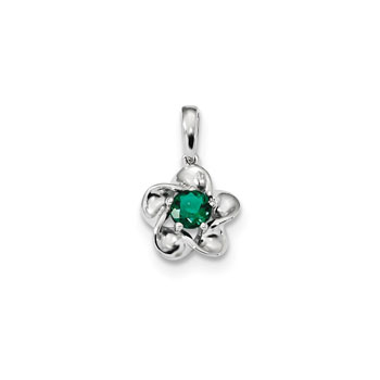"Girls Birthstone Flower Necklace - Created Emerald Birthstone - Sterling Silver Rhodium - Includes a 16"" 1.5mm Grow-With-Me® sterling silver rhodium chain - Adjustable at 16"", 15"", 14"""
