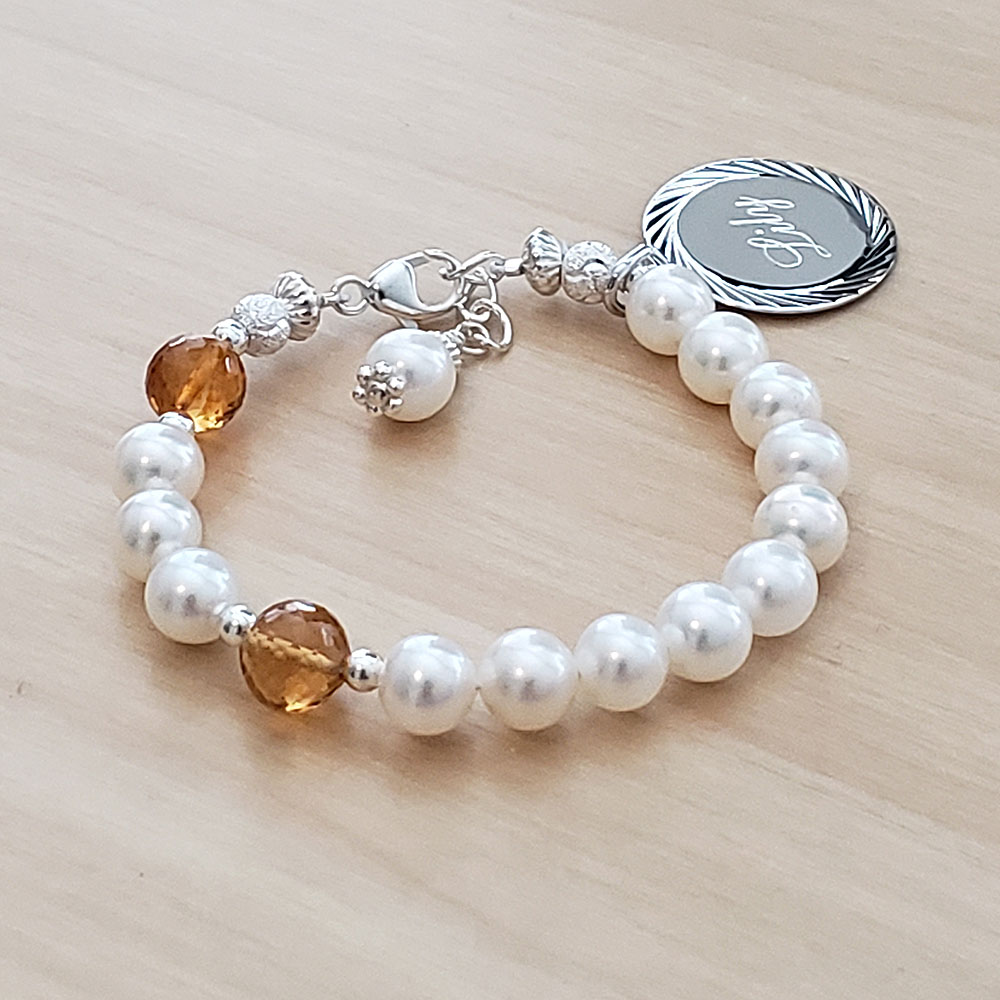 Holy Rosary Beads - Baby Rosary Bracelet Baptism - Cultured Pearl