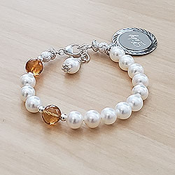 My Our Father Hail Mary™ by My First Rosary® Baby Bracelet – Grow-With-Me® designer original freshwater cultured pearl rosary baby bracelet – Personalize with gemstones & charms/