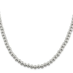 Girls Favorite Sterling Silver Beaded Box Chain Necklace - 6.10mm sterling beads - 20-inch length - BEST SELLER/