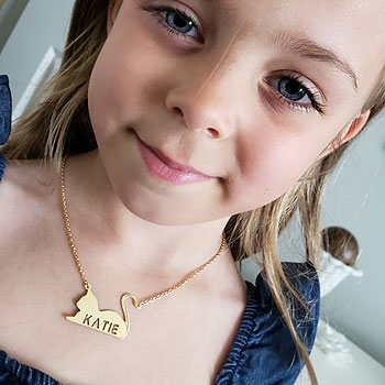 "Best-Selling Girl's Personalized Cat Pendant Necklace - 14K Gold-Plated Sterling Silver Name Necklace - 18"" cable chain included - BEST SELLER"