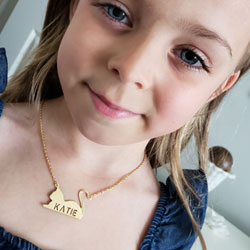 Best-Selling Girl's Personalized Cat Pendant Necklace - 14K Gold-Plated Sterling Silver Name Necklace - 18
