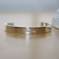 Audrey - Completely Custom High-End Sterling Silver Engraved Girls Cuff Baby Bracelet - Size 4