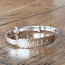 Exquisite Rose Gold Baby Christening Bangle Bracelet for Girls - Sterling Silver - Adjustable Bangle Bracelet - Baby, Toddler /