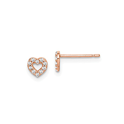 14K Rose Gold CZ Heart Earrings for Girls - Push-Back Posts - BEST SELLER/