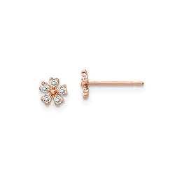 14K Rose Gold CZ Flower Earrings for Girls - Push-Back Posts - BEST SELLER/