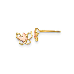 14K Yellow and Rose Gold CZ Butterfly Earrings for Girls - Push-Back Posts - BEST SELLER/