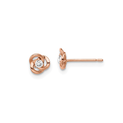 14K Rose Gold CZ Rose Earrings for Girls - Push-Back Posts - BEST SELLER/