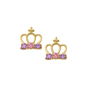 Princess Tiara Crown Earrings - Pink and Purple Genuine Cubic Zirconia - 14K Yellow Gold Screw Back Earrings for Girls - BEST SELLER
