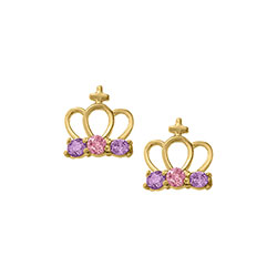Princess Tiara Crown Earrings - Pink and Purple Genuine Cubic Zirconia - 14K Yellow Gold Screw Back Earrings for Girls - BEST SELLER/
