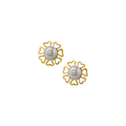 Exquisite Girl in Pearls - Freshwater Cultured Pearl - 14K Yellow Gold Screw Back Earrings for Girls - BEST SELLER/