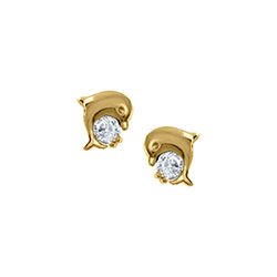 Adorable Little Girls Dolphin Earrings - Genuine Cubic Zirconia (CZ) - 14K Yellow Gold Screw Back Earrings for Girls - BEST SELLER/