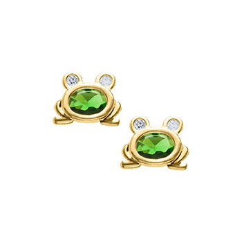 Adorable Frog Earrings - Green Genuine Cubic Zirconia - 14K Yellow Gold Screw Back Earrings for Girls - BEST SELLER
