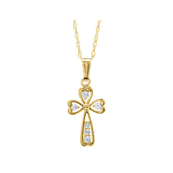 "Christening / Baptism Favorite - Cubic Zirconia (CZ) Cross Christening / Baptism Necklace - 14K Yellow Gold  - 15"" chain included - BEST SELLER"