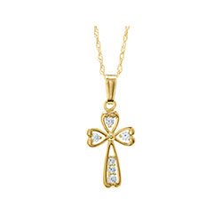 Christening / Baptism Favorite - Cubic Zirconia (CZ) Cross Christening / Baptism Necklace - 14K Yellow Gold  - 15