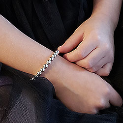 Little Girl Custom Silver Beads Bracelet/