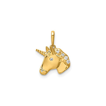 Unicorn Pendant Necklace for Girls - 14K Yellow Gold - CZ - Chain Included - BEST SELLER