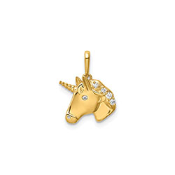 Unicorn Pendant Necklace for Girls - 14K Yellow Gold - CZ - Chain Included - BEST SELLER/
