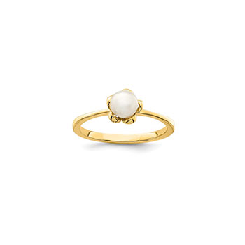 Beautiful Pearl Ring for Girls  - Freshwater Cultured Pearl - 14K Yellow Gold - Size 4 - BEST SELLER