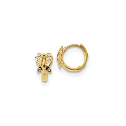 Girls Butterfly Huggies - 14K Yellow Gold CZ Butterfly Huggie Hoop Earrings for Girls - (Baby - Teen) - BEST SELLER/