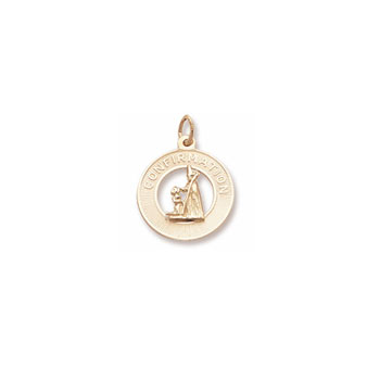 Rembrandt 10K Yellow Gold Girl's Confirmation Charm – Engravable on back - Add to a bracelet or necklace