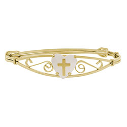 Keepsake Adjustable Bracelets - 14K Yellow Gold-Filled Mother of Pearl Adjustable Heart Cross Adjustable Bangle Bracelet - Baby, Toddler, Grade School Girl (1 - 8 years)/
