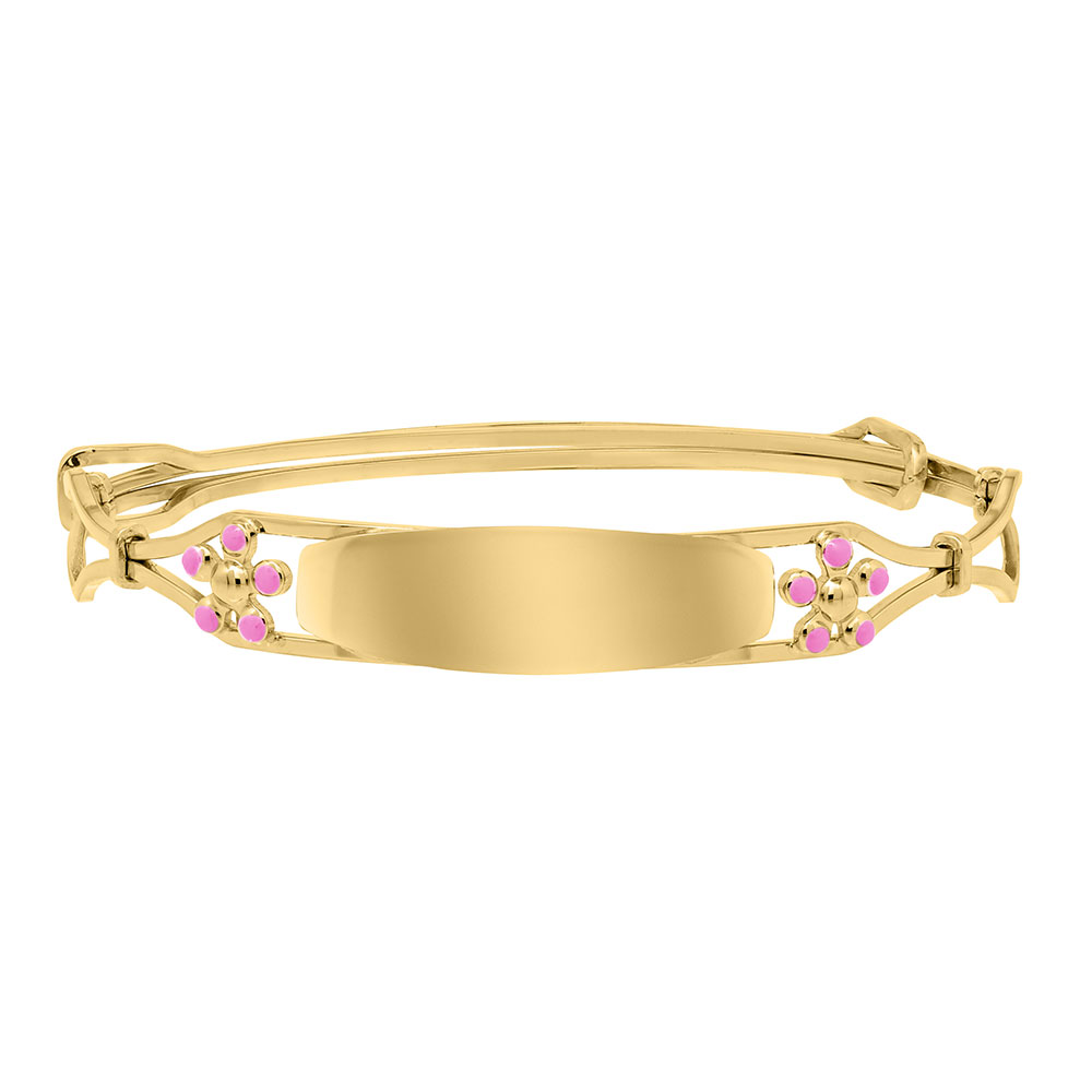Keepsake Adjustable Bracelets - Pink Flowers 14K Yellow Gold-Filled Adjustable Flower Bangle Bracelet - Engravable on Front - One bracelet fits baby, toddler, and child up to 8 years - BEST SELLER