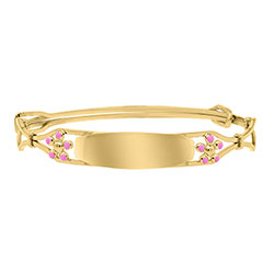 Keepsake Adjustable Bracelets - Pink Flowers 14K Yellow Gold-Filled Adjustable Flower Bangle Bracelet - Engravable on Front - One bracelet fits baby, toddler, and child up to 8 years - BEST SELLER/