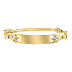 Keepsake Adjustable Bracelets - Blue Flowers 14K Yellow Gold-Filled Adjustable Flower Bangle Bracelet - Engravable on Front - One bracelet fits baby, toddler, and child up to 8 years - BEST SELLER/