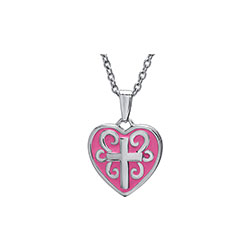 Little Girls Tiny Pink Heart Cross Pendant Necklace - Pink Enamel Cross Heart Christening / Baptism Necklace - Sterling Silver Rhodium  - 15