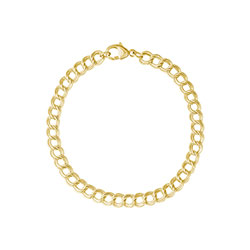Rembrandt Small Double Link Dapped Curb Classic Bracelet - Gold Plate/