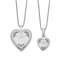 Floral Cross Locket Set/