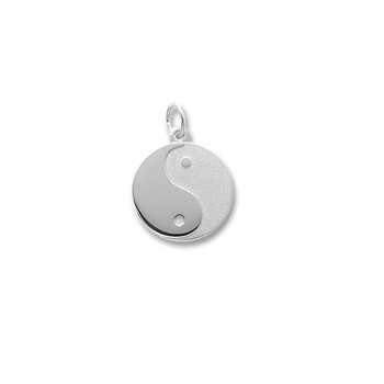 Yin (Female) Yang (Male) - Large Round Sterling Silver Rembrandt Charm - Engravable on back - Add to a bracelet or necklace