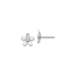 Exquisite Diamond Flower Earrings for Girls - 14K White Gold/