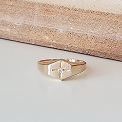 Diamond Baby Ring - 14K Yellow Gold - Size 1/