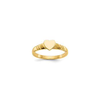 Engravable Signet Heart Baby Ring - 14K Yellow Gold - Size 1/