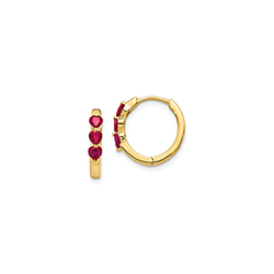 Beautiful Lab-Created Ruby 14K Yellow Gold Huggie Hoop Earrings for Girls/
