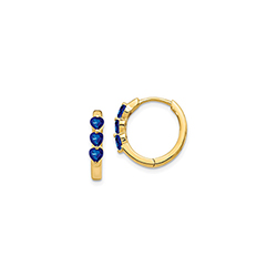 Beautiful Lab-Created Blue Sapphire 14K Yellow Gold Huggie Hoop Earrings for Girls/