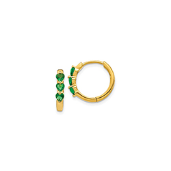 Beautiful Lab-Created Emerald 14K Yellow Gold Huggie Hoop Earrings for Girls/