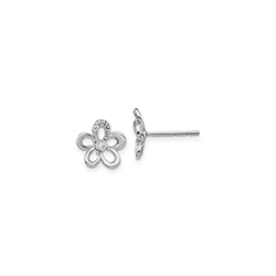 Exquisite Multi-Diamond Flower Earrings for Girls - 14K White Gold/